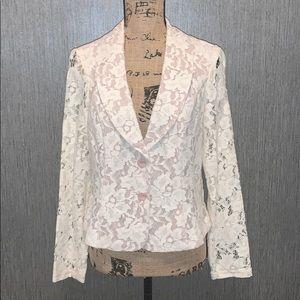 CAbi Lace Overlay Blazer Size 6